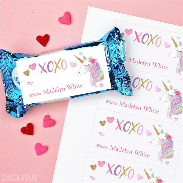 Unicorn Valentine's Day Gift Labels