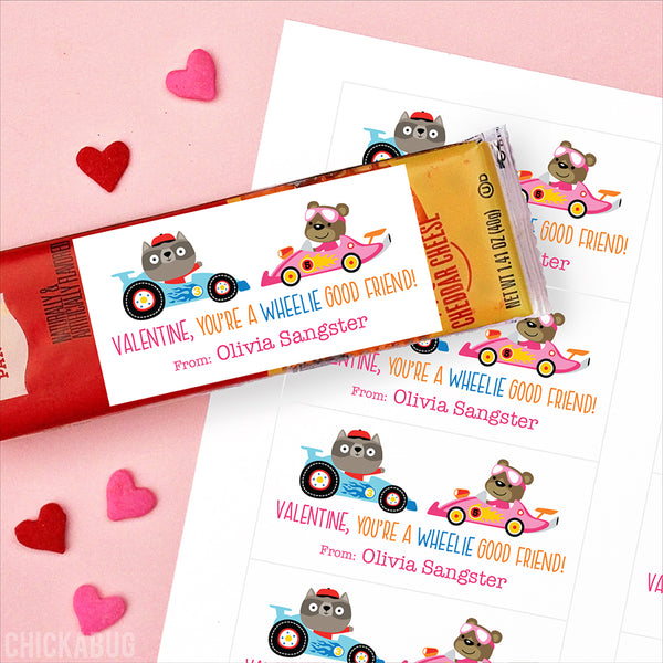 """You're a Wheelie Good Friend"" Animal Racers Valentine's Day Gift Labels - Pink"