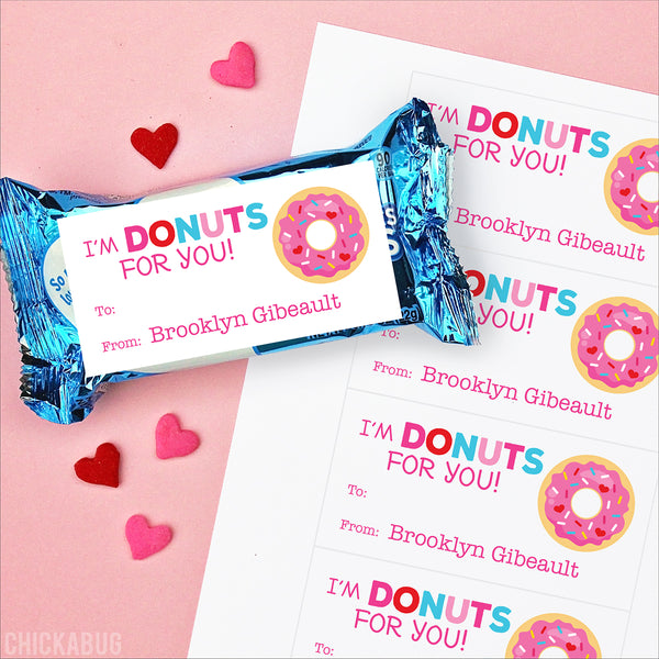 Donut Valentine's Day Gift Labels