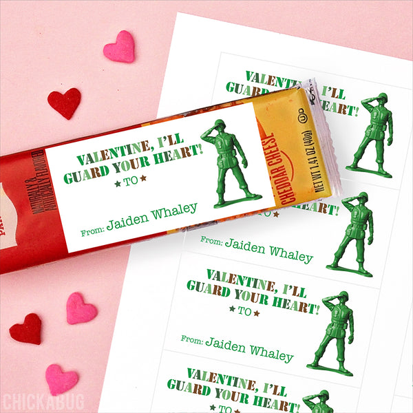 Army Toy Valentine's Day Gift Labels