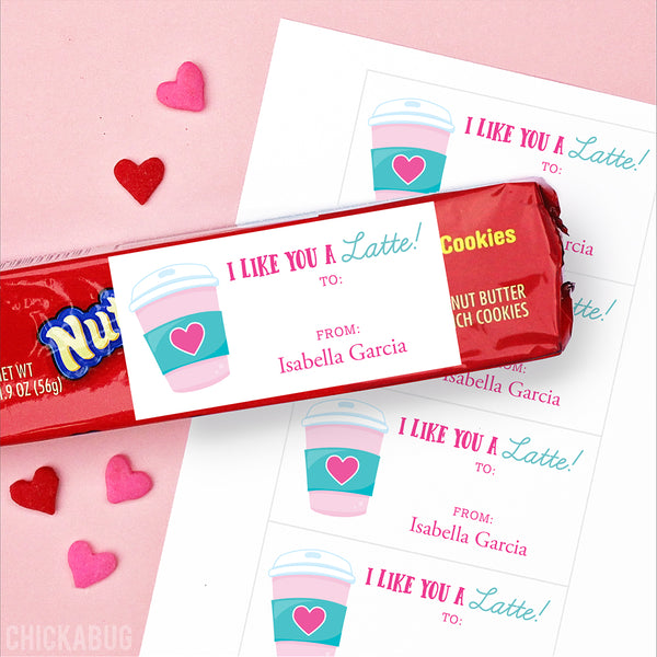 """I Like You a Latte"" Valentine's Day Gift Labels"