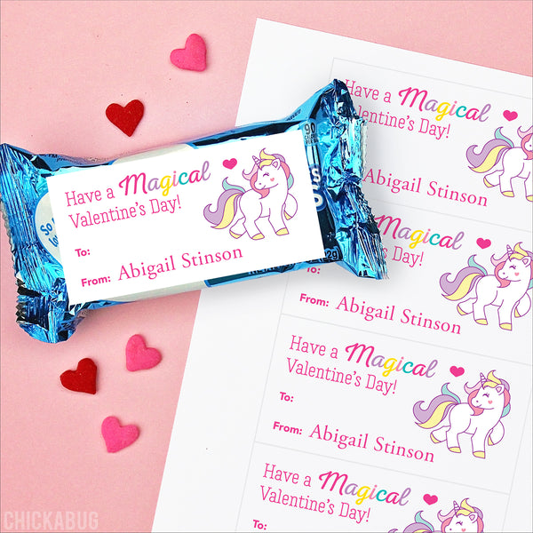 Magical Unicorn Valentine's Day Gift Labels