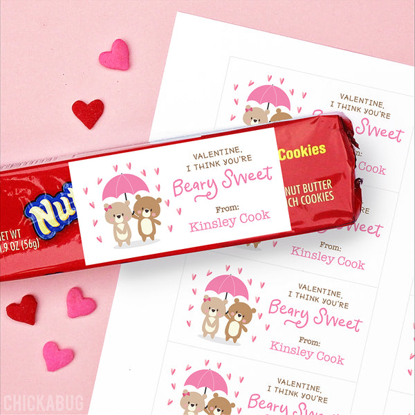 """Beary Sweet"" Valentine's Day Gift Labels"