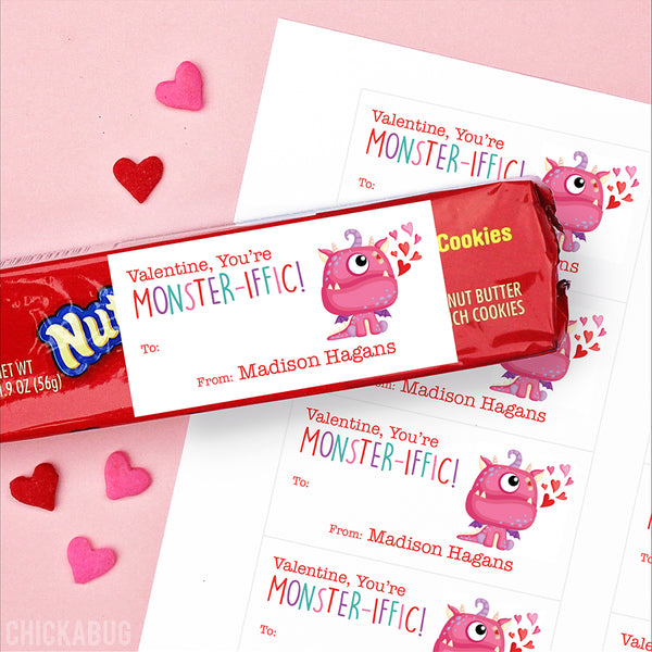 "Pink Monster ""You're Monster-iffic!""  Valentine's Day Gift Labels"
