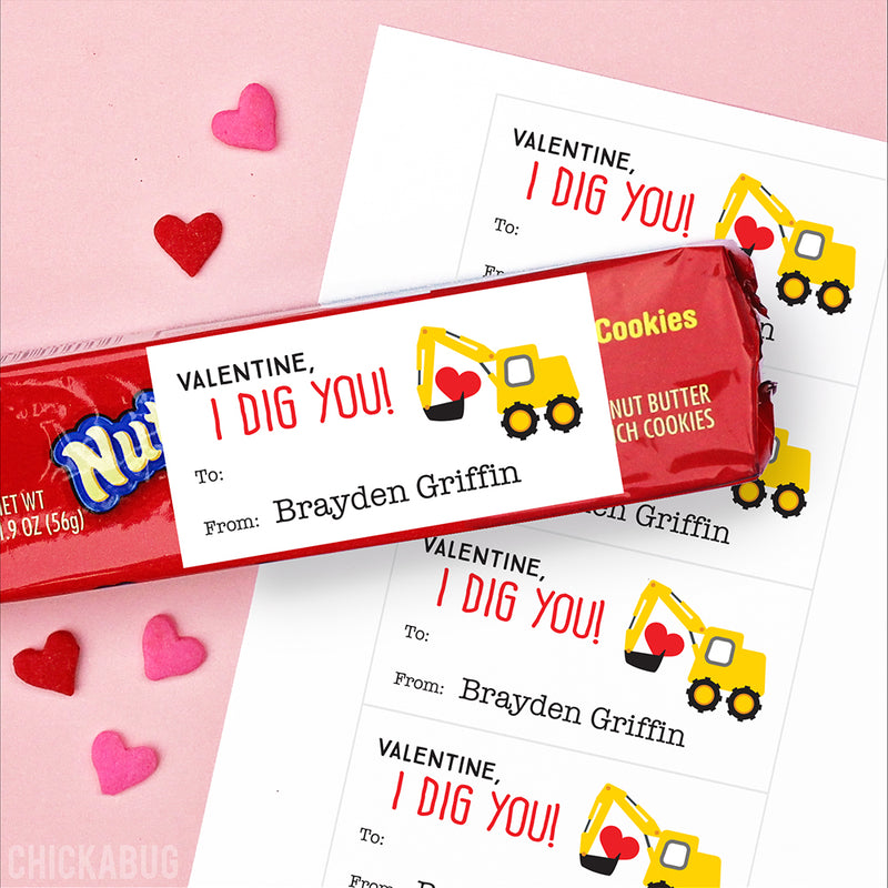 """I Dig You"" Construction Valentine's Day Gift Labels"