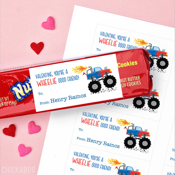 Monster Truck Valentine's Day Gift Labels
