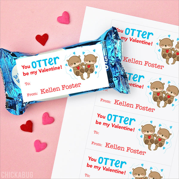 Otters  Valentine's Day Gift Labels