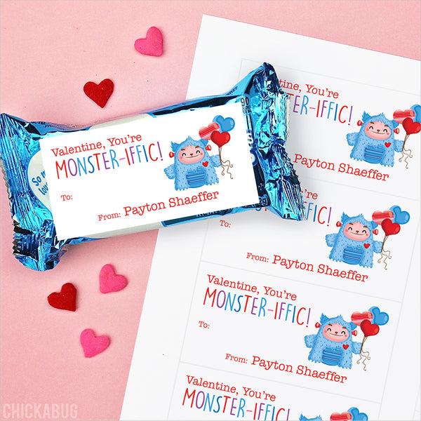 "Blue Monster ""You're Monster-iffic!""  Valentine's Day Gift Labels"