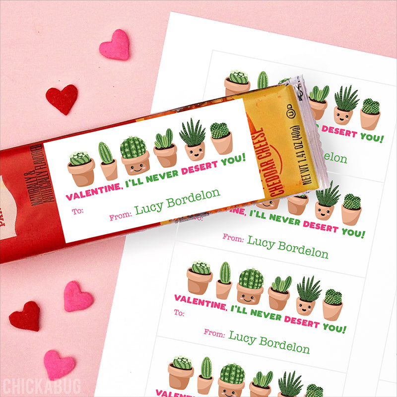 Cacti Valentine's Day Gift Labels