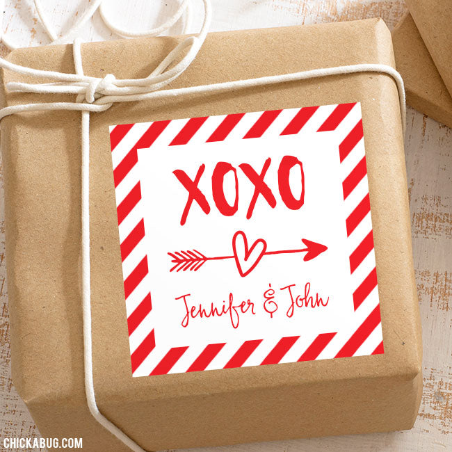 """XOXO"" Valentine's Day Gift Labels"