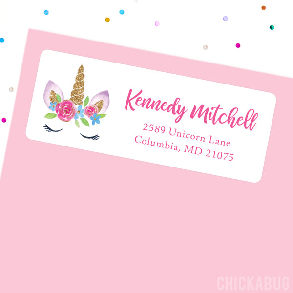 Gold Unicorn with Flower Crown Address Labels