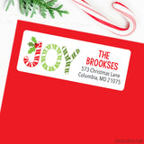 "Christmas Address Labels - Candy Cane ""Joy"""