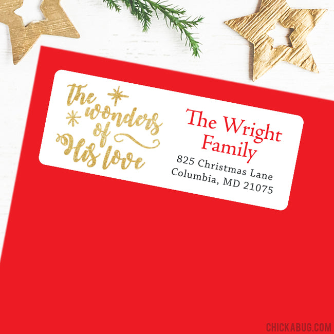 Christmas Address Labels - The Wonders of His Love