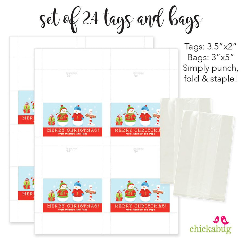 Snowman Family of 2 - Christmas Paper Tags and Bags