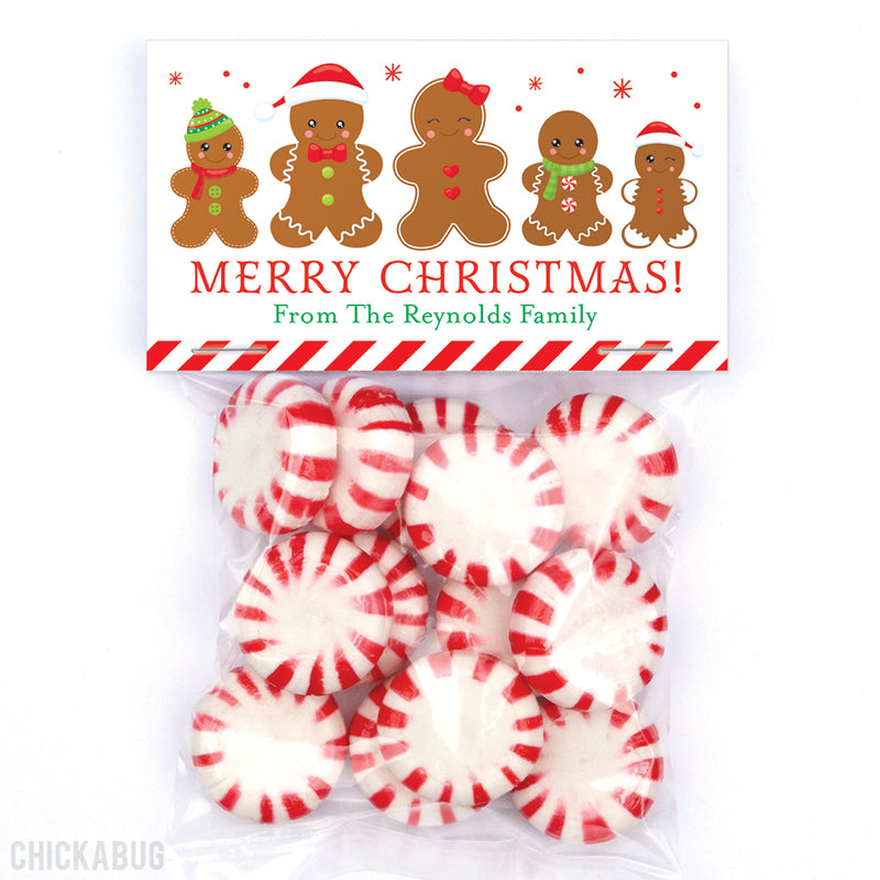 Gingerbread Family of 5 - Christmas Paper Tags and Bags