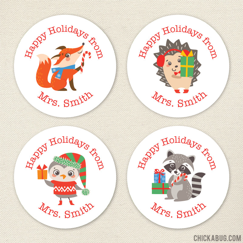 Happy Holidays Stickers - Festive Animals