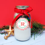 Red Stripe Monogrammed Christmas Stickers