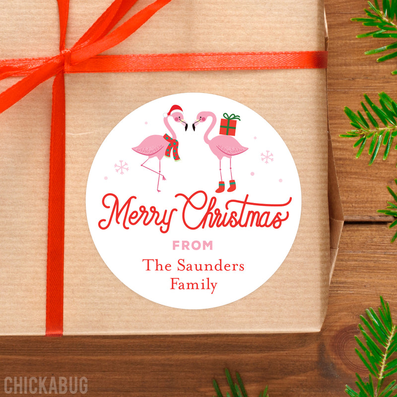 Pink Flamingo Christmas Gift Labels