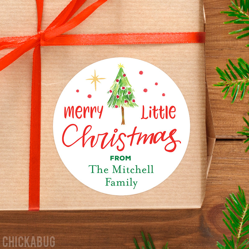 Watercolor Christmas Tree Gift Labels