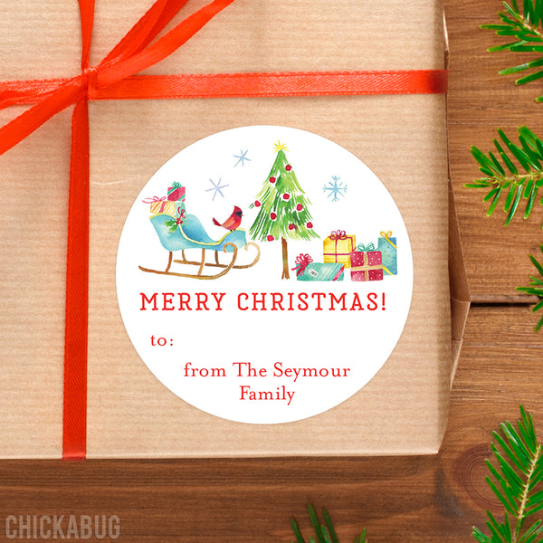 Watercolor Christmas Scene Gift Labels