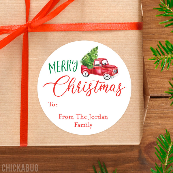 Vintage Red Truck Merry Christmas Gift Labels