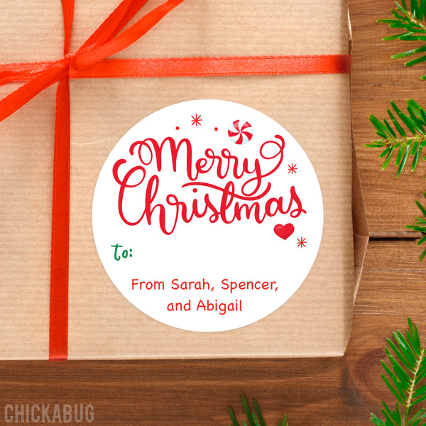 Sweet Calligraphy Merry Christmas Gift Labels