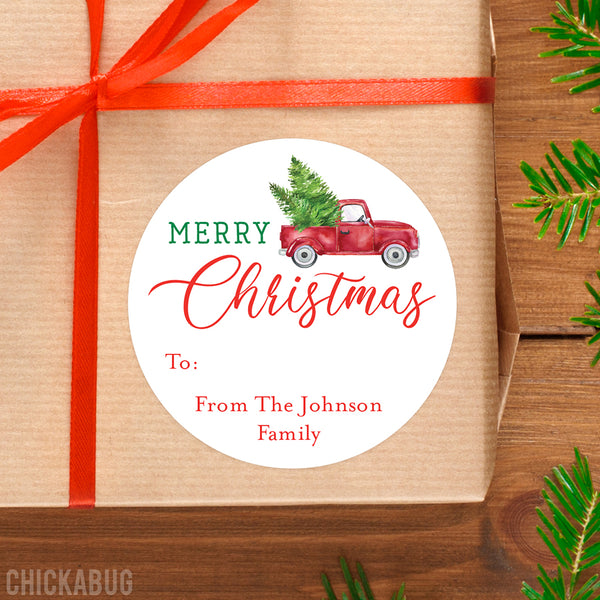 Red Truck with Trees Christmas Gift Labels