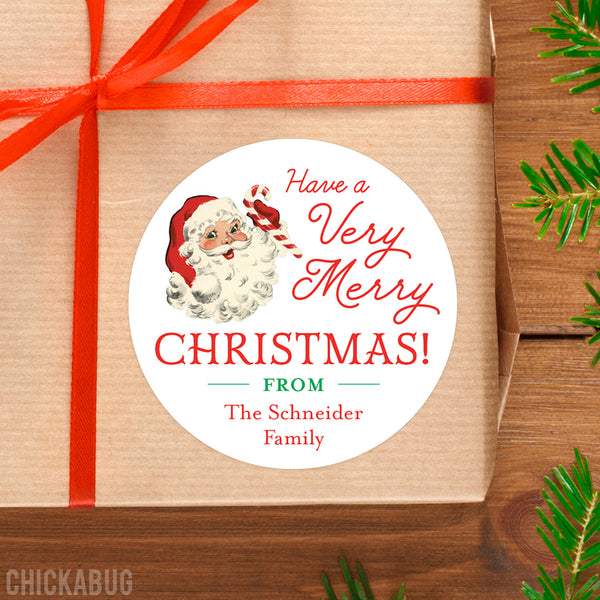 Old-Fashioned Santa Christmas Gift Labels