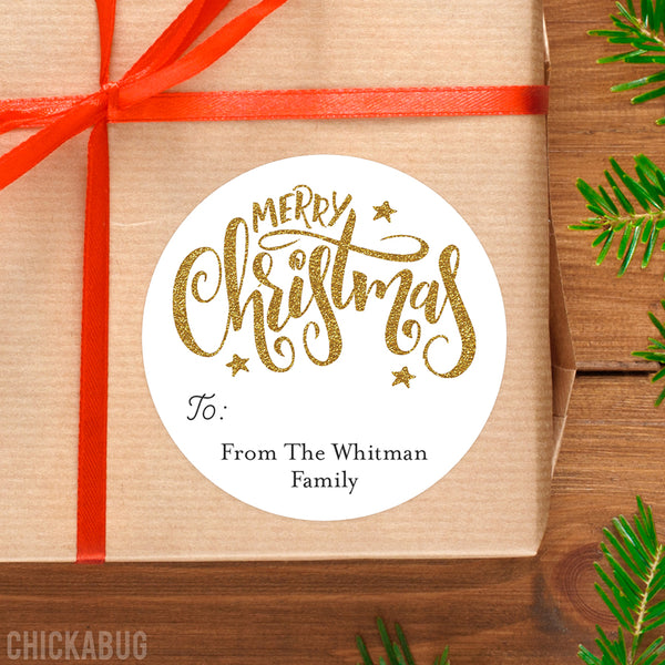 Gold Merry Christmas Gift Labels
