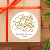 Gold Happy Holidays Gift Labels