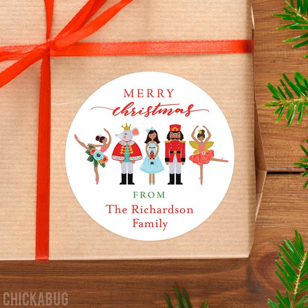 Nutcracker Ballet Christmas Gift Labels - African-American Characters
