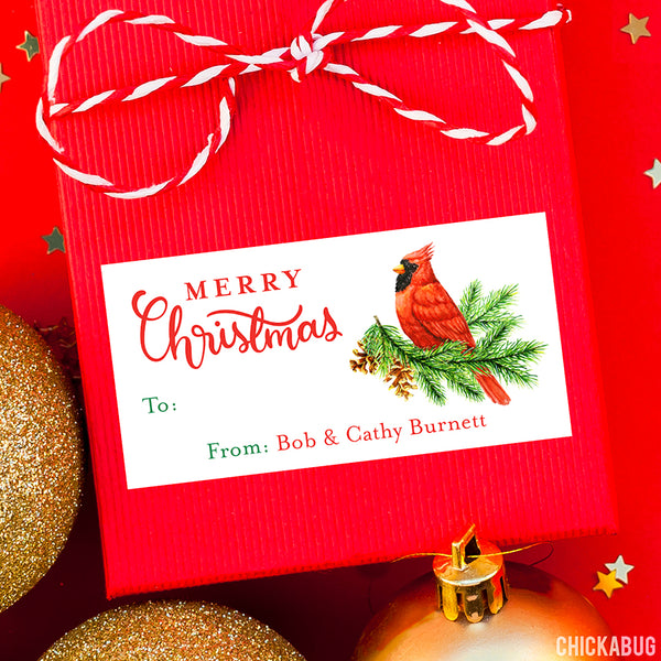 Christmas Cardinal Gift Labels