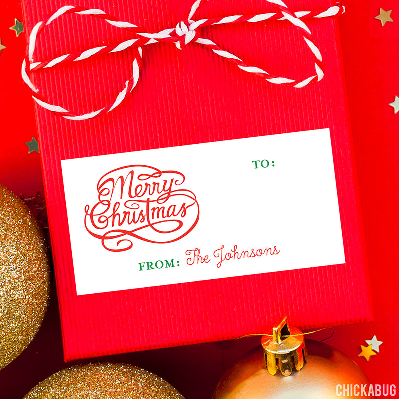 Merry Christmas Calligraphy Rectangular Christmas Gift Labels