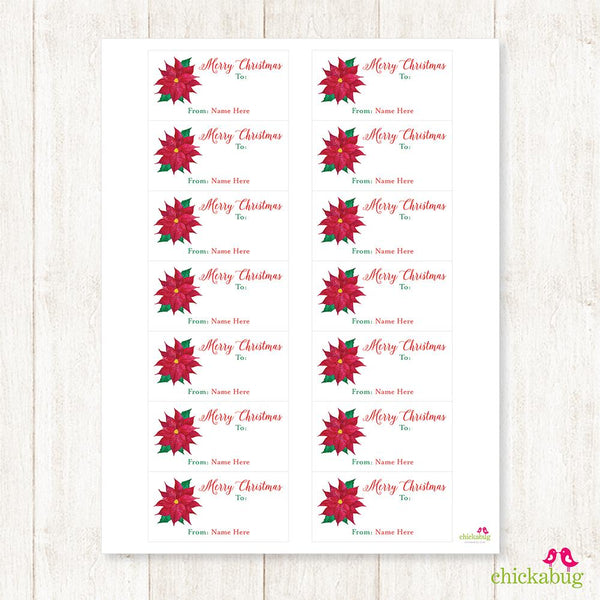 Watercolor Poinsettia Rectangular Christmas Gift Labels