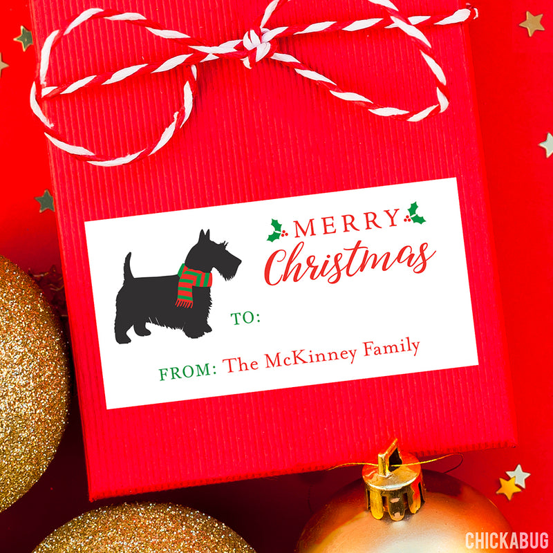 Scottie Dog Rectangular Christmas Gift Labels