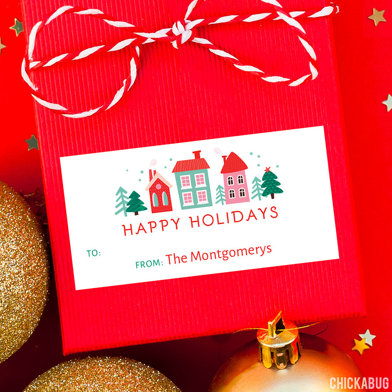 Tiny Town Rectangular Christmas Gift Labels
