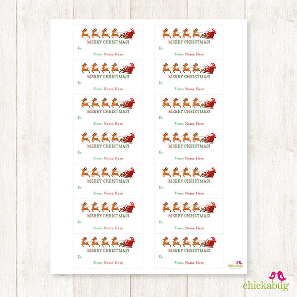 Santa's Sleigh and Reindeer Rectangular Christmas Gift Labels