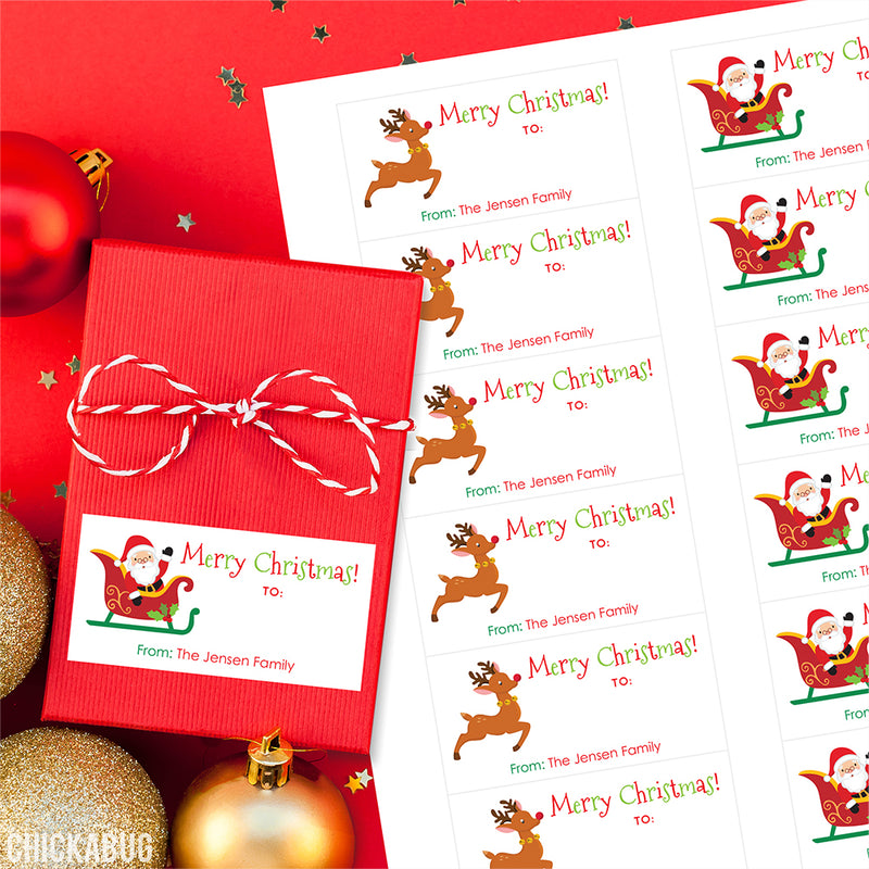 Santa's Sleigh and Rudolph Rectangular Christmas Gift Labels
