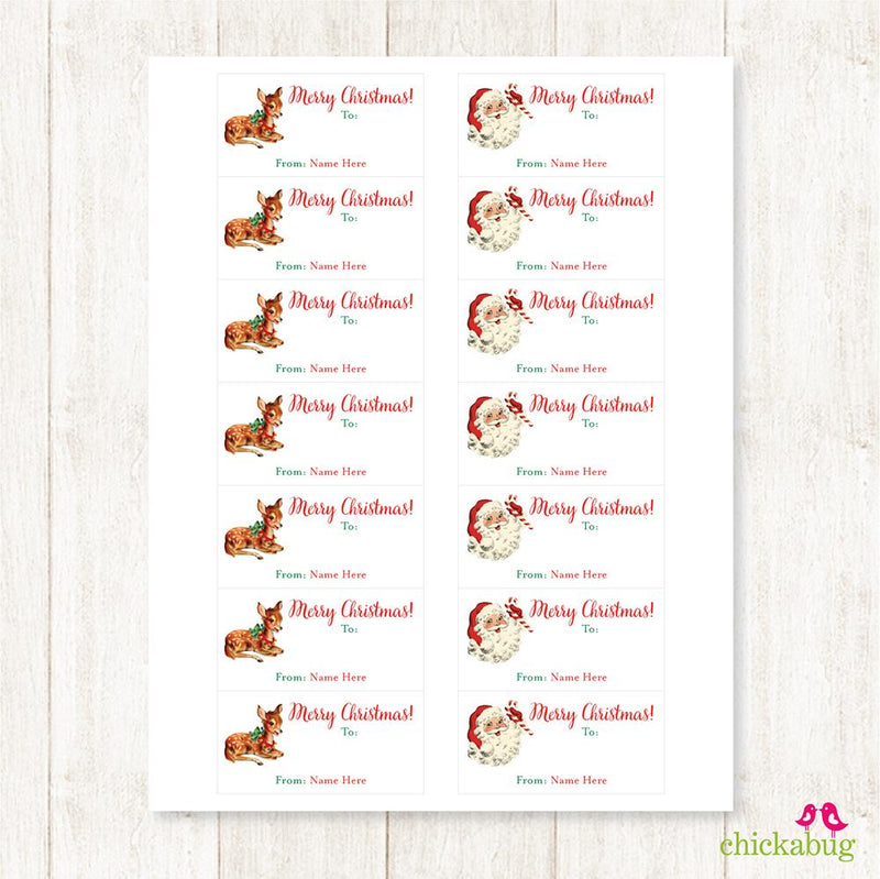 Old Fashioned Santa and Reindeer Rectangular Christmas Gift Labels