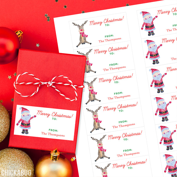 Country Santa and Reindeer Rectangular Christmas Gift Labels