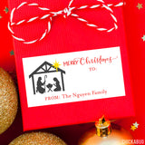 Nativity Silhouette Rectangular Christmas Gift Labels