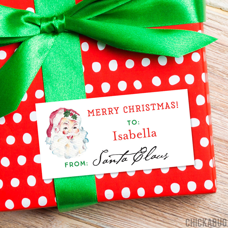 To Child From Santa Christmas Gift Labels - Vintage Santa