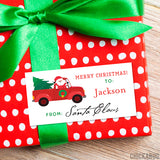To Child From Santa Christmas Gift Labels - Santa in a Red Truck