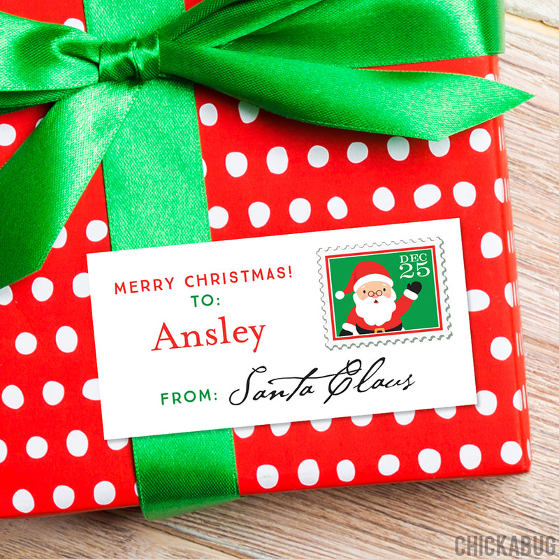 To Child From Santa Christmas Gift Labels - Postage Stamp
