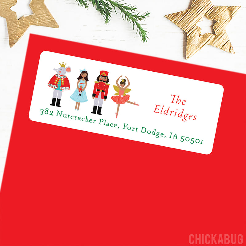 Nutcracker Christmas Address Labels - African-American Characters