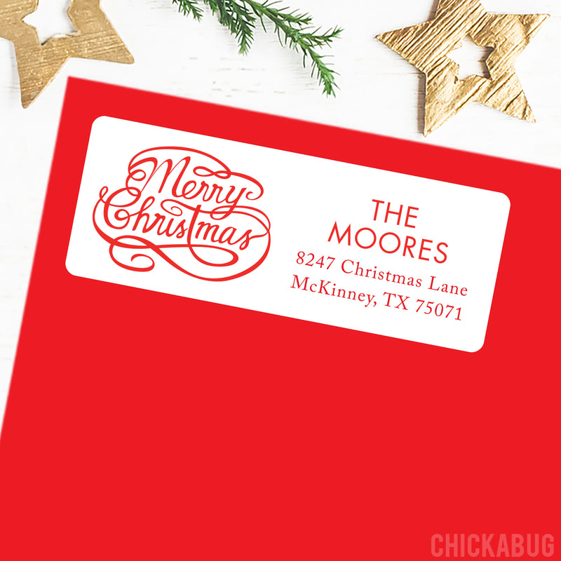 Christmas Address Labels - Merry Christmas Calligraphy