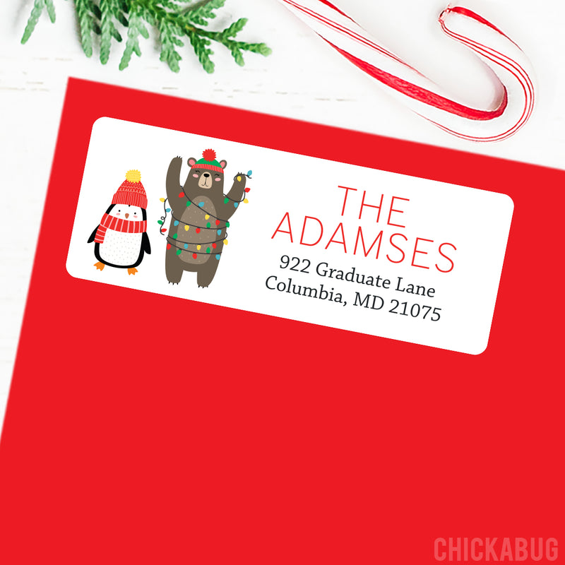 Christmas Address Labels - Penguin and Bear