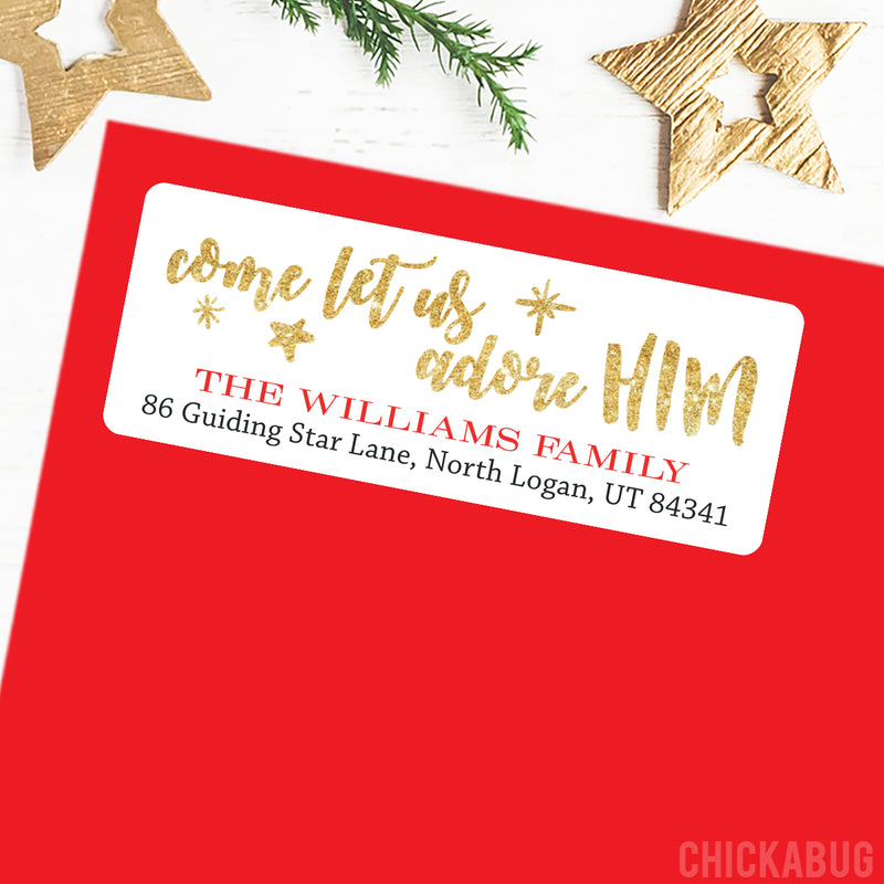 Christmas Address Labels - Come Let Us Adore Him