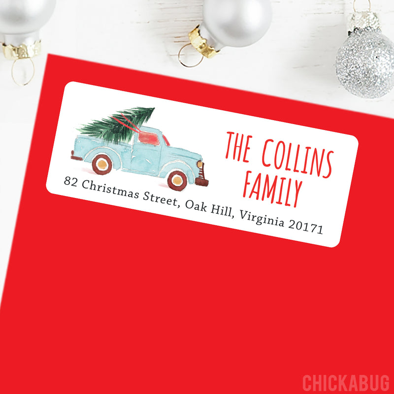 Christmas Address Labels - Watercolor Truck