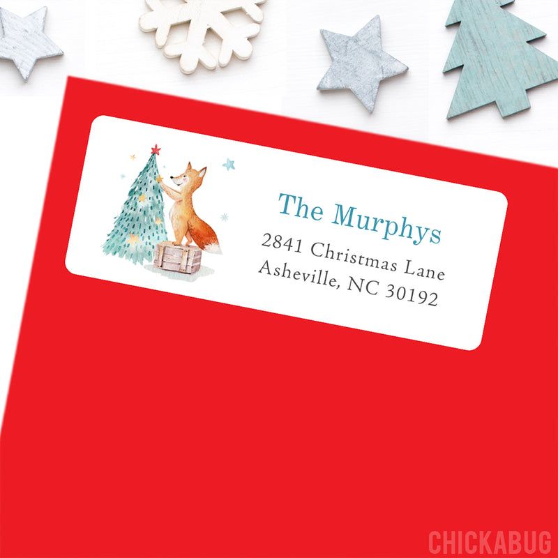 Fox and Christmas Tree Address Labels